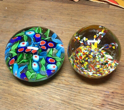 Gorgeous Vintage Pair of Blown Glass Paperweights Millefiori Confetti Beautiful!