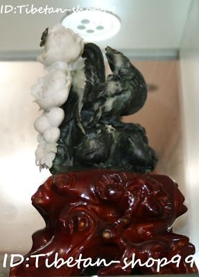 Natural Dushan Jade Carving Rooster Cock Chicken Animal Peony Flower Sculpture