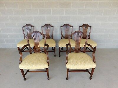 Quality Vintage Mahogany Shield Back Dining Chairs Wood & Hogan Set of 6