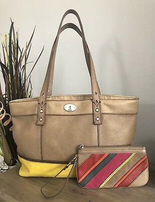 """8d4ed93d96c LOT OF 2 FOSSIL """"HUNTER"""" Pewter/Yellow Leather Tote & Matching Leather  Wristlet"""