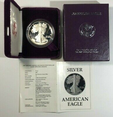 1987-S Silver American Eagle Proof 1 oz US Mint Coin with Box and COA .999