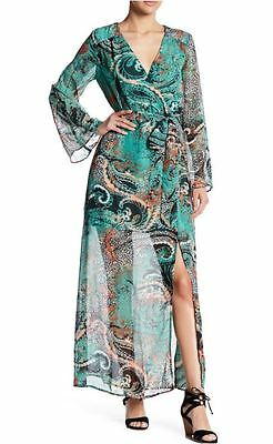 ECI New York Aqua Multi Color Bell Sleeve Chiffon Long Dress 10