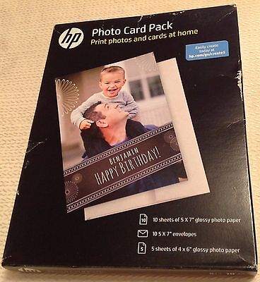 HP INKJET PHOTO Card Pack Kit 10 Sheets 5x7 Env Glossy Paper