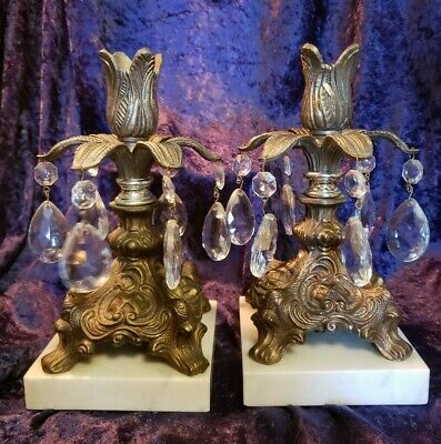 Pair Italian Gold Metal, Marble Base, Crystal Prisms Vintage Candle Stick