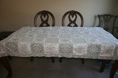 """Army Navy Linen Tablecloth Embroidered Filet Lace Drawn Work Vintage  94"""" x 62"""""""