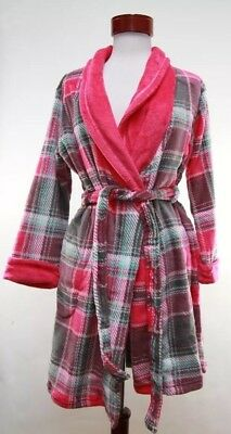 New Ulta Beauty Womens Plaid Robe Pink Multicolor Polyester Sleepwear Size S/M