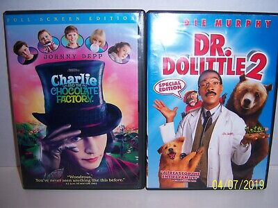 Kids Movie Set, Charlie and the Chocolate Factory & Dr. Doolittle 2 Johnny Depp