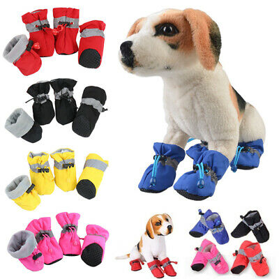 4pcs Pet Dog Puppy Outdoor Boots Booties Anti-slip Protect Rain Shoes