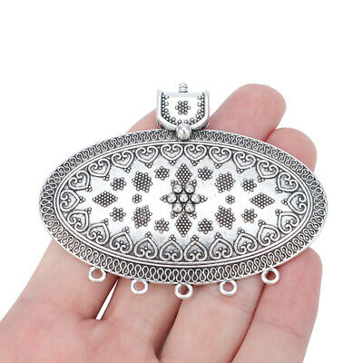 2 x Antique Silver Large Ethnic Tribal Boho Bohemian Connector Charms Pendants