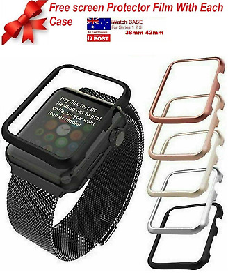 Full Cover Case Apple Watch Series 3,2 1 38mm 42mm+Free Tempered Glass Protector