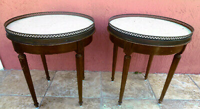 Pair of  Round Marble Top French Louis XVI Side End Tables