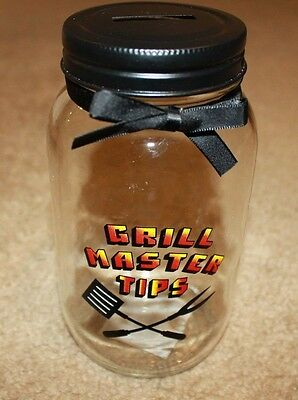 Dad Gift BBQ Grill Mason Tips Jar COIN Piggy Money Fund BANK with Slotted Lid