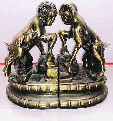 VINTAGE 1974 BRONZE RAM Bookends Aries Horoscope EX cond occult Library