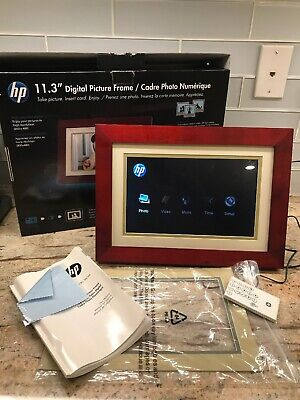 """HP DF1130A4 11.3"""" Digital Picture Frame Mahogany with remote, manual & box"""