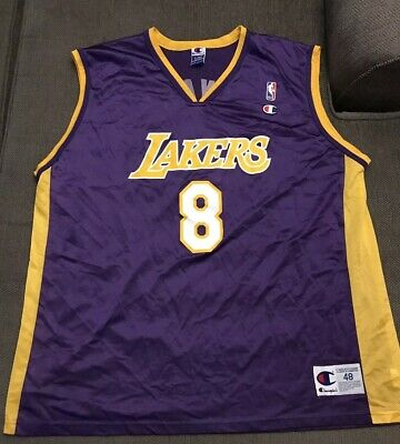 4a253e2329d Vintage Champion NBA Los Angeles Lakers Kobe Bryant Rookie Jersey Sz 48 XL  8  LA