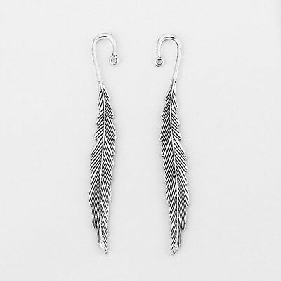 2 Large Antique Silver Leaf Feather Charms Bookmark Beading Book Marks Findings