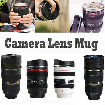 Camera Lens thermos Cup Coffee Travel Stainless Steel Mug with Lid Leak-Proof