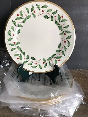"Set of 6 Lenox Holiday Christmas China 8"" Inche Salad or Bread Plates"