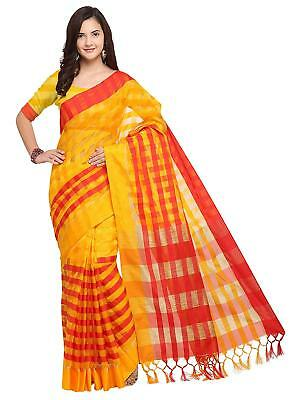 f6bd5397244bb Party Wear Printed Designer Saree Blouse Yellow   Red Bollywood Cotton Silk  Sari