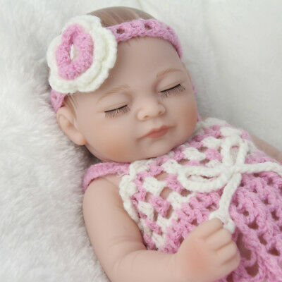 "Cute 10"" Full Silicone Vinyl Reborn Baby Girl Washable Bathe Partner Handmade"