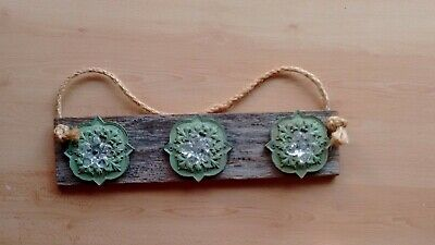 Handmade Shabby Country Provincial 3 hook wall coat rack rustic timber green