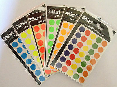 280 (2 Packs) Sticky Coloured 13mm Dots Round Labels Self Adhesive Stickers