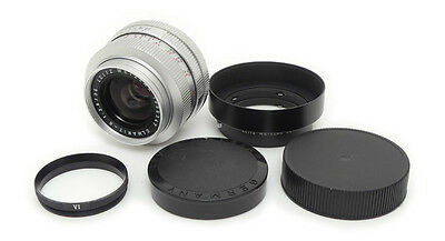Leica Leitz Elmarit-R 35mm F2.8 Chrome Lens. Ring. Hood - Only 200 Made