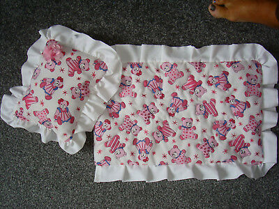 Handmade Beautiful Dolls cot / pram quilted cotton quilt and pillow Bear Pink
