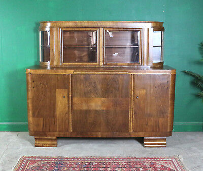 Large Art Deco Style Walnut Sideboard, Dresser, Kitchen, Dining Room, Credenza