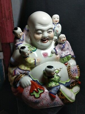Large Vintage Porcelain Laughing Buddha with 5 Children playing