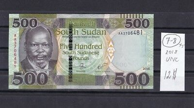 South Sudan  2018  UNC  500  Pounds  Bank Note .AA  Series .See scans.