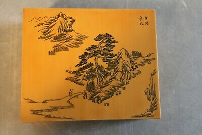 Fine Vintage Chinese Signed Dresser Box with Scholar and Mountain Scene