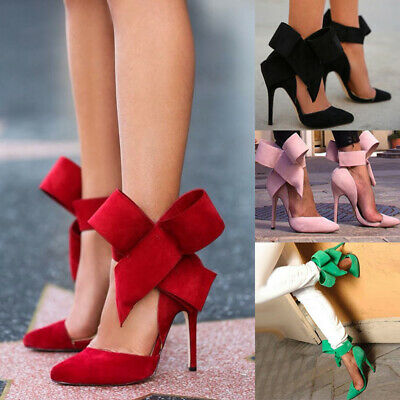 Womens Pumps Bow Tie Pointed Toe Pumps Ladies High Heels Shoes Suede