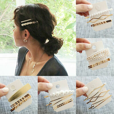 3PCS/Lot Sweet Women Pearl Metal Hair Clip Comb Bobby Pins Barrette Hairband