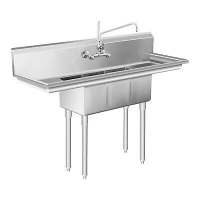 Gastro Three Basin Sink Large Kitchen Sink Unit Stainless Steel Commercial Sink