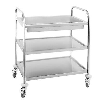 Stainless Steel Serving Cart Two Shelves Storage Area Anti Shock Design Mobile