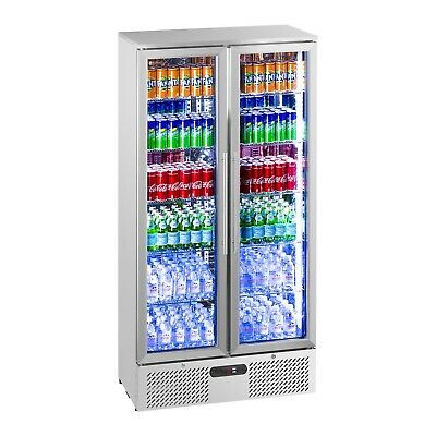 Bottle Fridge Drinks Refrigerator Chiller Glass Door Stainless Steel 458L