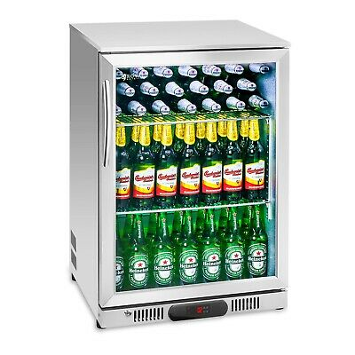 Bottle Fridge Drinks Refrigerator Chiller Cooler Glass Door Stainless Steel 138L