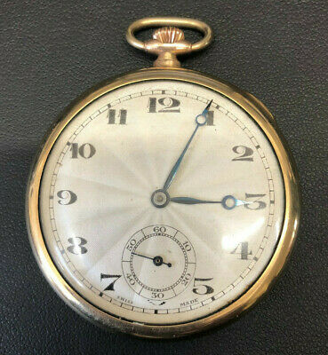 Sunray 15 Jewel Rolled Gold Open Face Swiss Vintage Pocket Watch Great Condition