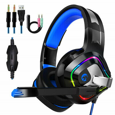 RGB LED Gaming Headset Kopfhörer Mikrofon Noise Cancelling für PS4 PC Xbox One