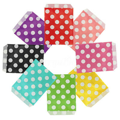 50X Retro Dot Polka Wedding Party Paper Bags Sweets Candy Popcorn Gift Favour