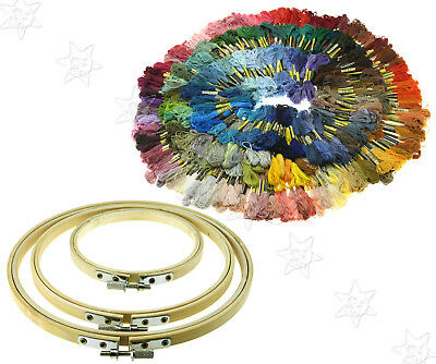 Bamboo Hoops Thread Floss Cross Stitch Embroidery Carft Accessories Multi Color
