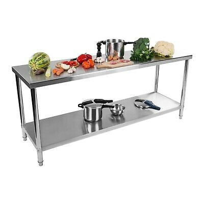 Stainless Steel Kitchen Work Table Commercial Catering Food Prep 200 X 60 Cm