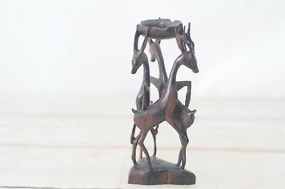 Vintage Carved Wood Figurine Three Intertwined Animals Possibly Gazzelle Antelop