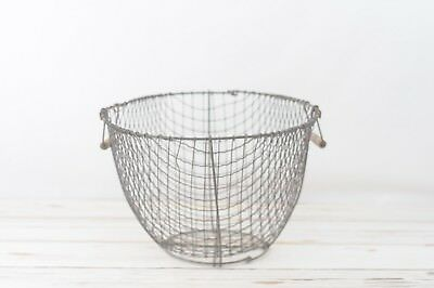 Large Antique Wire Clam Oyster Basket Nautical Fishing Primitive Beach Decor