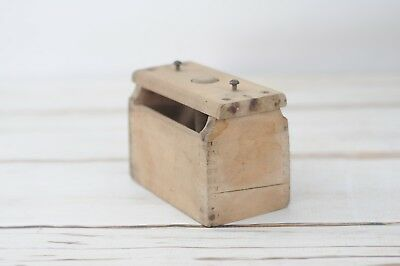 Early Primitive Antique Square Wooden Butter Mold Press Country Farm Kitchen