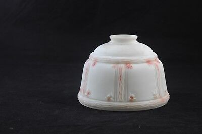 Antique /Vintage Victorian Lamp Shade Light Globe White Glass Pink Shading