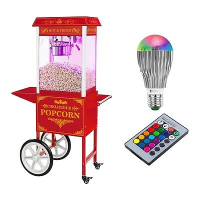 Retro Popcorn Machine Cinema Style Commercial Popcorn Maker + Cart 1600W 6Kg/H
