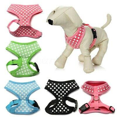 Adjustable Dot Non Pull Soft Mesh Padded Dog Puppy Pet Harness Leash Lead