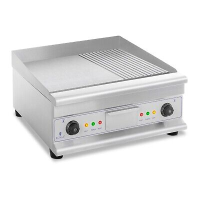 Double Electric Grill Electric Griddle Smooth Ribbed Splash Guard 60x40 cm 6400W